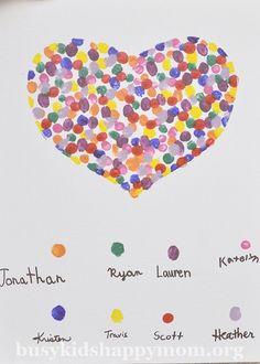 Awesome handmade teacher gift idea: Fingerprint art from the class where each kid gets a different color.