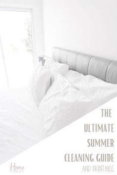 It's time to start the summer cleaning, here's exactly what to clean this summer so you can enjoy the warm sunny season. Grab the free checklist too. #checklist #tips #schedule #list #freeprintable #house #guide #cleanse via @homebyjenn Wash Pillows, White Pillows, White Bedding, Night Shift Nurse, House Chores, Health Promotion, Make Your Bed, Spring Cleaning, Healthy Habits