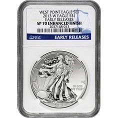 2013-W Silver American Eagle West Point 2pc Set 70 UC ER NGC Blue Label / Enhanced Mint State