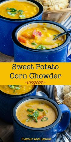 Hearty Vegan Sweet Potato Corn Chowder Flavour And Savour - This Vegan Sweet Potato Corn Chowder Is Thick And Chunky Slightly Sweet And Slightly Spicy Its Free Of Fat Dairy Meat And Gluten And Its Incredibly Delicious Can I Interest You In A Easy Corn Chowder, Vegan Corn Chowder, Potato Corn Chowder, Chowder Soup, Chowder Recipes, Soup Recipes, Whole Food Recipes, Vegetarian Recipes, Cooking Recipes