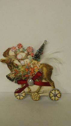 Bethany Lowe Scrapbook Reindeer w Tree Ornament New MWT #BethanyLowe