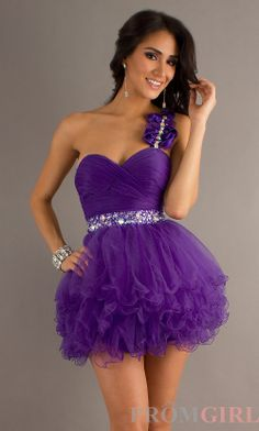 One Shoulder Party Dress, Short One Shoulder Prom Dress- PromGirl