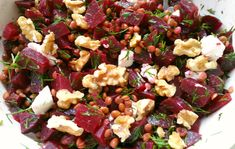 Beetroot, lentil, walnut and goat cheese salad - Beetroot, lentil, walnut and goat cheese salad Vegetarian food is a party! Easy Healthy Recipes, Veggie Recipes, Salad Recipes, Vegetarian Recipes, Cooking Recipes, Vegetarian Lunch, Veggie Meal Prep, Goat Cheese Salad, Food Inspiration