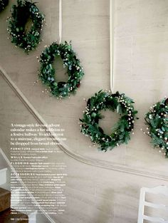 Celebrate the Holidays! Hang a row of elegant wreaths.