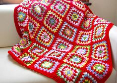 I adore the bright colors here & the red being dominat...... hopscotch lane: crochet