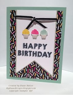 "Party Wishes, It's My Party DSP, Basic Black 1/8"" Taffeta Ribbon, Banners Framelits. Party Punch Pack"