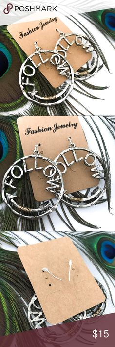 "Handmade Hammered Follow Cut Out Arrow Earrings Last one in stock! Brand new with tags! Great quality!    PRODUCT DETAILS: •Size: One size •Colors: Black aged detailing, silver, bronze •Made in China  •Dangle style  •Hoops •Cut out ""Follow"" •Arrow accents  •Wire Wrapped detailing   •Hammered Texture  •Aged Coloring   Tags: boho bohemian native American Indian tribal Jewelry Earrings"