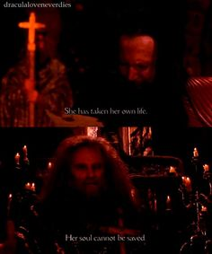 """Bram Stoker's Dracula(1992). Orthodox and Catholic doctrine specifies that a person that commits suicide is condemned to Hell. This view was pontificated in the Middle Ages. It began as an attempt to discourage reckless martyrdom under oppressive persecution in earlier Christian times,but was ruled a """"mortal"""" I.e. unforgivable sin by the Middle Ages when the plague was rampant and religion wanted to keep the death toll to a minimum."""