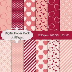 Valentine's Day digital paper pack love basic by CnDigitalDesign
