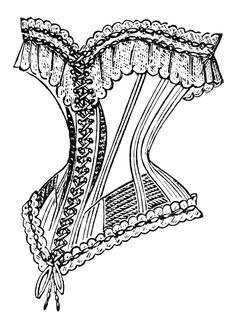 Corset Clip Art | french corset image, vintage corset clipart, black and white clip art ...