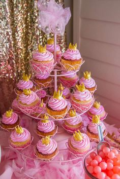 Pink and Gold Birthday Party cupcakes!  See more party planning ideas at CatchMyParty.com!