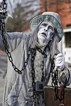 """Learn how to dress as one of the characters from Charles Dickens' """"A Christmas Carol,"""" including Ebenezer Scrooge. Here you will find ideas for a variety of Dickens characters. Scrooge A Christmas Carol, Ghost Of Christmas Past, Marley Christmas Carol, Christmas Costumes, Halloween Costumes, Christmas Makeup, Halloween Christmas, Christmas Art, Jacob Marley"""