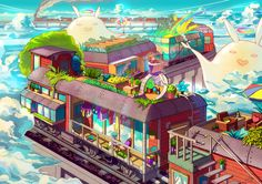 Houses on the Stopping Train by Caring201 -- beautiful colors and composition