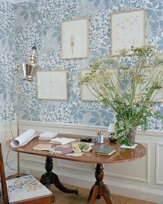 Stella Tennant's desk, dining table as desk, traditional decor with a twist