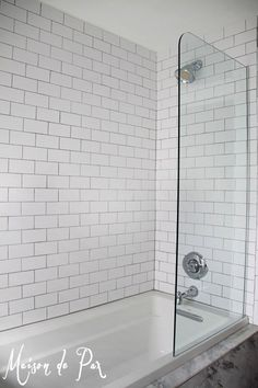 Gain tub space and luxury with an extra-deep but normal width soaking tub. Note also the half shower wall in glass to open up the space. Bathtub Shower Combo, Master Bath Shower, Bathroom Tub Shower, Glass Shower Doors, Bath Tub, Guest Bath, Half Glass Shower Wall, Bathtub With Glass Door, Shower Walls