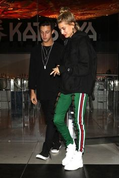 love the sweat pants green with red white and navy stripes