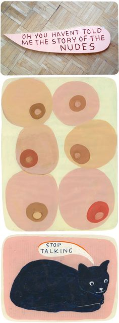 martha rich (paintings on paper, and wooden speech bubble)  this is weird and i like it