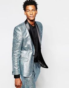Image 1 ofASOS Slim Blazer In Foil Print