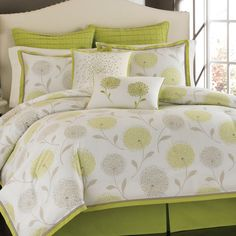 Stella Bedding Collection -• The set includes: 1 comforter, 2 shams and 1 bedskirt  • 100% cotton  • Cushions are made of 100% polyester   • Approximate sizes for comforters (may vary according to brand):  - Double: 80'' x 90''  - Queen: 90'' x 90''  - King: 108'' x 90''   $24.95 - $124.95