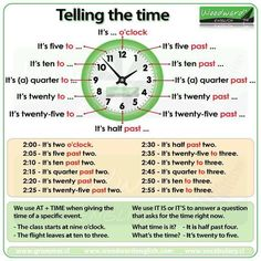 We have some new material for you about learning how to tell the time in English. First we have this video Here is a summary chart for your reference: You can find more details about telling the ti… # learn english speaking pdf Telling the time in English English Time, English Study, English Words, Learn English, Basic English For Kids, Learn French, Spanish Lessons, Teaching Spanish, English Lessons