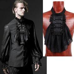 Black Chiffon Lace Ruffle Retro Vintage Victorian Gothic Jabot SKU 71105044