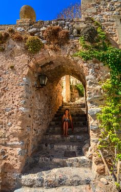 At the stairs by Ⓟ Panagiotis Papadopoulos Beautiful Islands, Beautiful Beaches, Places To Travel, Places To See, Places Around The World, Around The Worlds, Monemvasia Greece, Places In Greece, Greek Isles