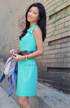 steal style, color, the dress, bows, teal dress, petite fashion, ann taylor, work dresses, belts