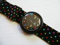 """The Pop Swatch - These are colorful, oversized watches from Swatch which you can """"pop"""" out of the strap and attach to your clothes or bag. I had one and I loved it! Retro Pop, Retro Vintage, Vintage Toys, Vintage Italy, My Childhood Memories, Childhood Toys, Sweet Memories, Wordmark, Good Old Times"""