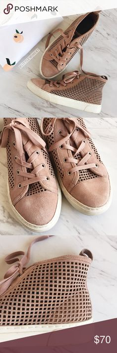 Blush pink perforated high-top sneakers 1.State | 'Dulcia' perforated high-top sneaker in Blush (blush pink). These trendy sneakers feature a perforated suede design, solid toe cap, and cushioned platform sole. Pair this with distressed denim for an effortlessly cool look! Rubber sole has stains and slight scuffs as shown in photos. In otherwise excellent used condition.   Size: 7 1. State Shoes Sneakers