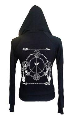 Womens Boho Gypsy Yoga DREAMCATCHER Arrow Feather Vintage Retro Hoodie Sweatshirt Cotton Fleece American Apparel Made in USA  xs, s, m, l