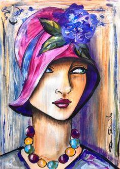 Si doux.... - Peinture,  29x39 cm ©2015 par Dam Domido -                                                                                                Art déco, Art figuratif, Expressionnisme, Papier, Femmes, Portraits, portrait rétro, peintures de dam domido