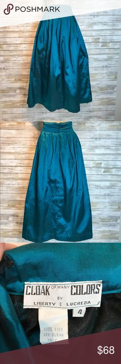 Vintage Cloak of many Colors taffeta skirt sz 0 Vintage Cloak of many Colors teal taffeta skirt  sz 0  Excellent Condition cloak of many colors Skirts