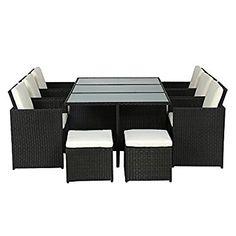 Amazon.de: POLY RATTAN Lounge Gartenset Braun Garnitur Polyrattan  Aluminium Rahmen Kein Bausatz