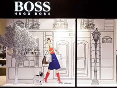 Angeline Melin's illustration for Hugo Boss window