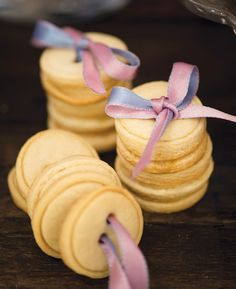 Button cookies...and wrapped together with ribbon through button holes!