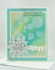 handmade card ... delightful watercolor bokeh technique background in aquas and yellows on watercolor paper ...