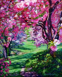 The sakura blossoms of Japan. An impressionist painting by David Lloyd Glover