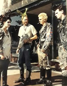 Punks in front of Noir Leather, Main St Royal Oak Michigan 1989