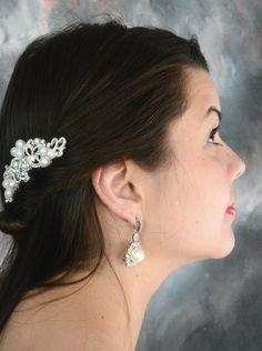 Romantic scroll crystal pearl vintage bridal hair comb www.bella-tiara.com