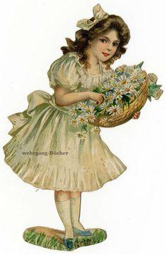 Vintage Edwardian die cut paper scrap, little bridesmaid from c. Vintage Labels, Vintage Postcards, Vintage Images, Antique Wallpaper, Die Cut Paper, Free Printable Art, Victorian London, Bottle Cap Art, Victorian Flowers