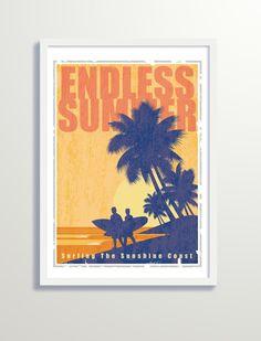 Vintage Surf, Poster Vintage, Vintage Travel Posters, Vintage Prints, Surf Competition, Art Deco Era, Pigment Ink, Digital Prints, Art Deco