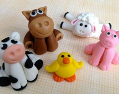 Handmade Farm Animal Cake Toppers by CheekiLili on Etsy