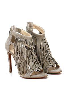 Alexandra - Sandalo alto - Donna - Sandalo alto in camoscio con zip su retro e frange frontali. Suola in cuoio, tacco 110. - ECRU - € 155.00