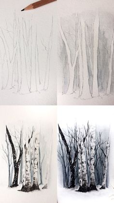 (@rosies.sketchbook) Process photos of watercolor birch trees. #watercolor #watercolour #painting #sketch #art #artist #artwork #draw #drawing #doodle #watercolorist #illustration #illustrate
