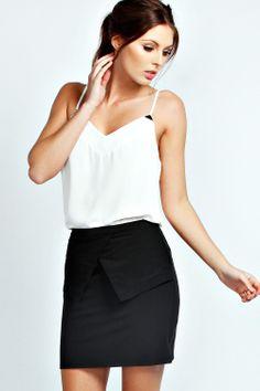 Maddie Asymmetric Peplum Woven Mini skirt