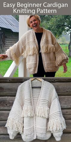 Easy Cardigan Knitting Pattern Polar Bear Cardigan A simple cardigan for beginner knitters according to designer. Options for fringe and without. Follow step by step instructions and you will have your own handmade cozy cardigan. Super bulky weight yarn. Designed by Bummbul Ladies Cardigan Knitting Patterns, Beginner Knitting Patterns, Chunky Knitting Patterns, Knitting For Beginners, Knitting Stitches, Free Knitting, Crochet Patterns, Knitting Ideas, Knit Fashion