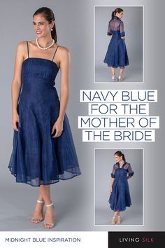 Living Silk - specializing in navy dresses and two piece outfits with sleeves for the modern and elegant mother of the bride and mother of the groom at a beach, boho, garden, country, cocktail or formal wedding in Spring/ Summer or Fall/ Winter Mother Of Bride Outfits, Mother Of Groom Dresses, Bride Groom Dress, Groom Outfit, Bride Dresses, Mother Of The Bride, Bridesmaid Dresses, Wedding Dresses, Outdoor Wedding Dress