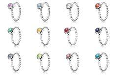 Birthstone pandora rings
