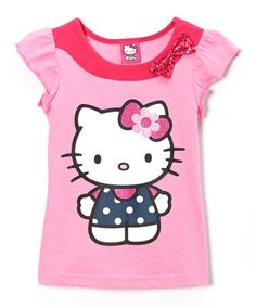 3694d451c4d9 Another great find on  zulily! Pink  amp  Navy Dot Hello Kitty Bow Top