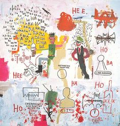 Jean-Michel Basquiat Riddle Me This, Batman 1987 acrylic and oil paintstick on canvas 117 x 114 1/4 in. Private collection, courtesy Giraud Pissarro Ségalot